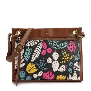 Fossil Violet Floral Crossbody Purse NEW